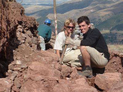 Volunteers on the Inca project in Peru take a break from digging to find ancient artifacts