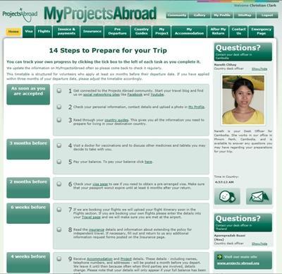 登入MyProjectsAbroad的畫面