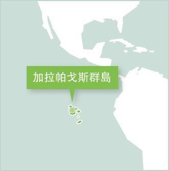 地圖顯示志工在南美厄瓜多爾的工作地點是加拉帕戈斯群島