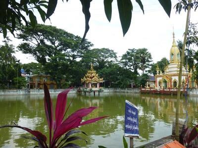 美麗的湖景和廟宇,攝於緬甸德拉區的本地寺院