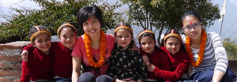 Nepalese children with Projects Abroad Chinese New Year Specials.
