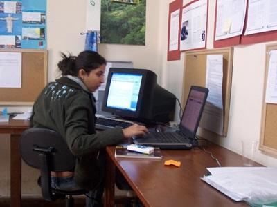 新聞實習生在玻利維亞的實習單位處理一些辦公室工作