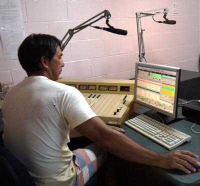 Radio Journalism intern records a radio show in Samoa