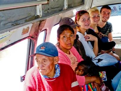 Volunteers take a ride in a Peruvian taxi